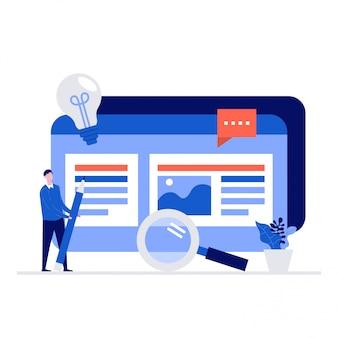 Seo und content marketing illustration konzept mit charakteren.