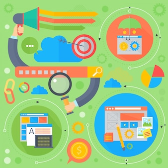 Seo und entwicklungskonzept entwerfen infografiken im kreisdesign