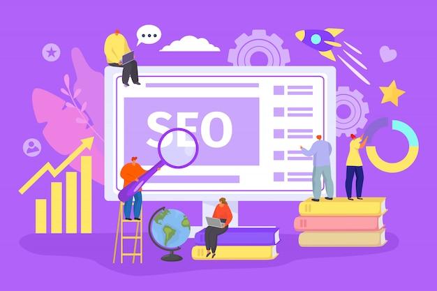 Seo web-technologie-konzept, illustration. internet business, design und entwicklung website menschen inhalt. wohnungsverwaltung