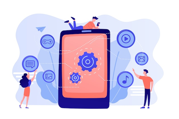 Seo, website, softwareentwicklung. app-optimierung, programmierung. webdesigner, programmierer zeichentrickfiguren. illustration des konzepts für mobile inhalte