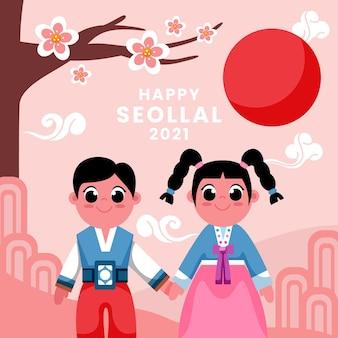 Seollal flacher designhintergrund mit zeichen