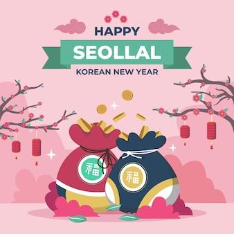 Seollal koreanisches neujahr im flachen design