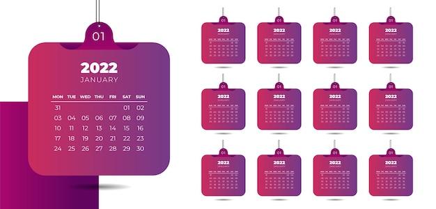 Separater monatskalender mit hängendem weltraumthema