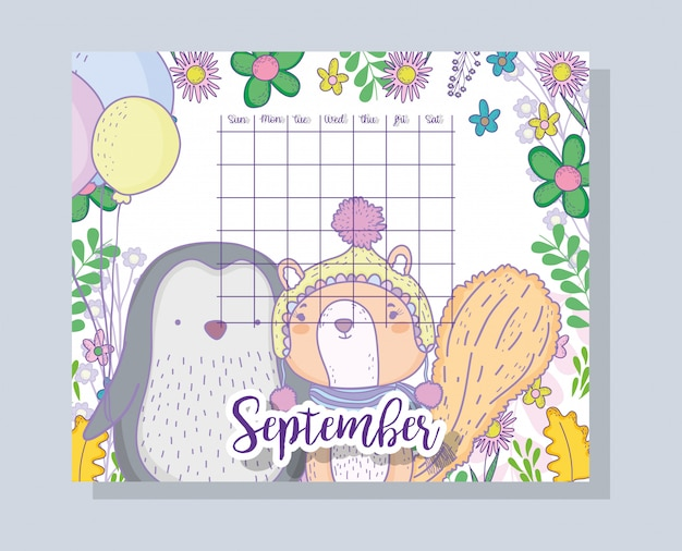 September-kalenderinformation mit pinguin und eichhörnchen