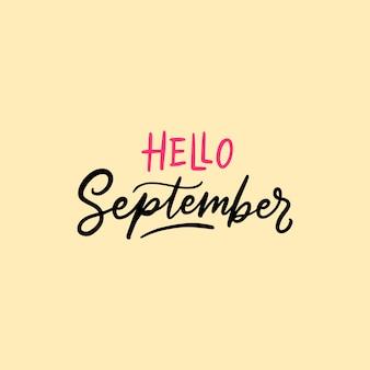 September typografie und schriftzug zitate hallo september