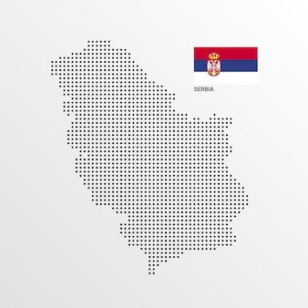 Serbien-kartenentwurf mit flaggen- und hellem hintergrundvektor