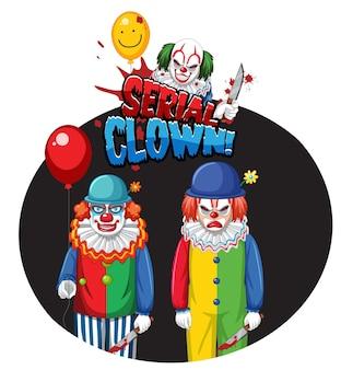 Serien-clown-abzeichen mit zwei gruseligen clowns