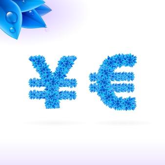 Serifenlose schrift mit blauer blattdekoration