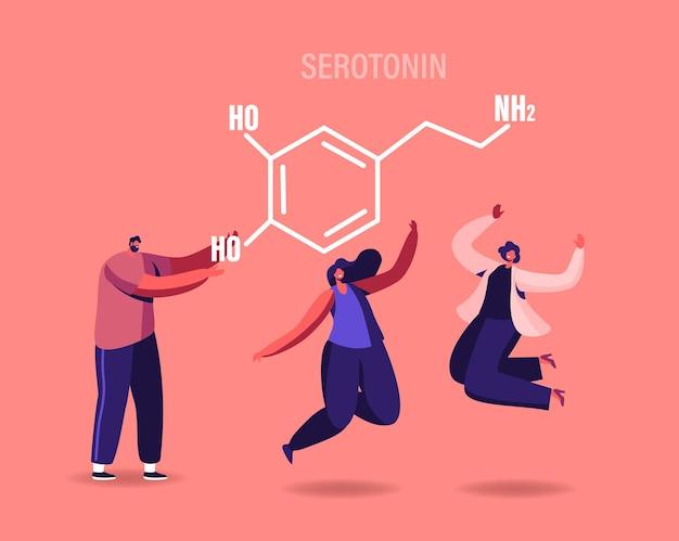 Serotonin-illustration. charaktere, die das leben aufgrund der hormonproduktion im organismus genießen.