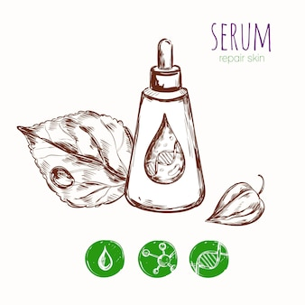 Serum leaf cosmetic concept