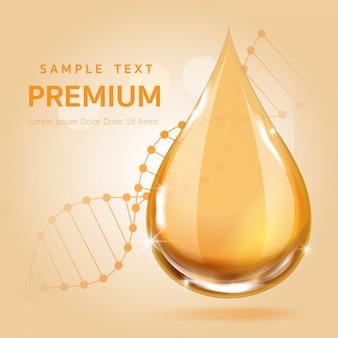 Serumgoldtropfen für schönheits- und kosmetikkonzept