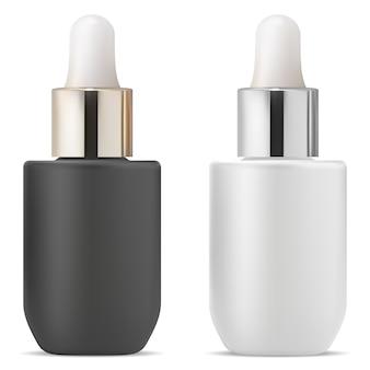 Serumtropfflasche. fläschchen mit kosmetischen ätherischen ölen. pipetten-medizinflasche mit pipette, glas oder plastikrohling. gold- und silbermetallkollagenflakonillustration. aroma beauty spa set