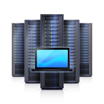 Server-gestell-laptop-realistische getrennte abbildung