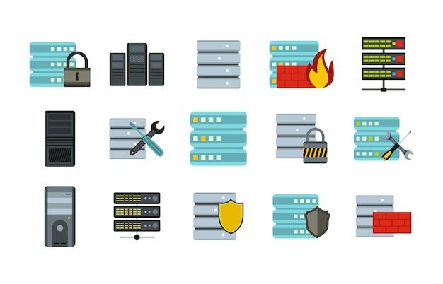 Server-icon-set. flacher satz der servervektor-ikonensammlung lokalisiert