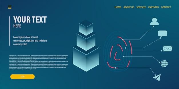 Server-id fingerabdruck-zugangskonto datenverbindung isometrische technologie digitaler vektor