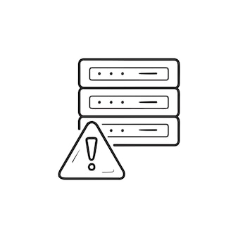 Server mit fehler ausrufezeichen hand gezeichnete umriss-doodle-symbol. netzwerkfehler, speicherserverfehlerkonzept