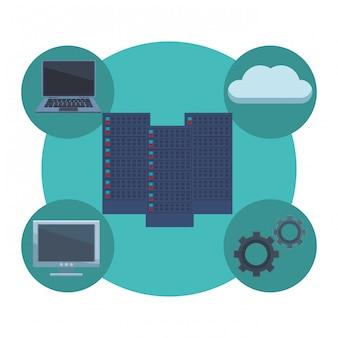 Server mit informatischen elementen