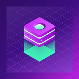 Server-raum-ikone mit dunklem neonsteigungs-hintergrund