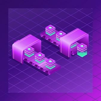 Server room, big data-prozess mit farbverlaufsstil