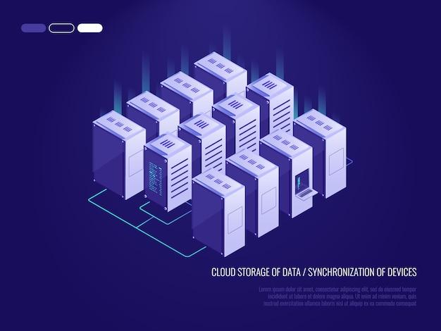 Serverraum, großes rechenzentrum, cloud-server