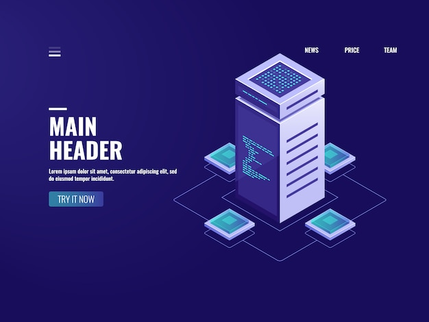 Serverraum isometrische big data-verarbeitung, cloud-speicher, blockchain-technologie
