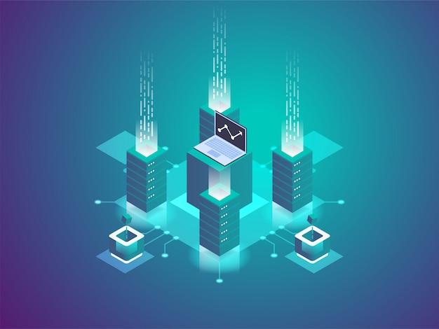 Serverraum-rack, blockchain-technologie, token-api-zugriff, rechenzentrum, cloud-speicher, datenaustauschprotokoll,