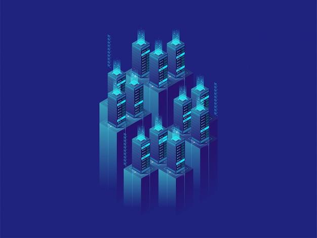 Serverraum-rechenzentrum der isometrischen illustration