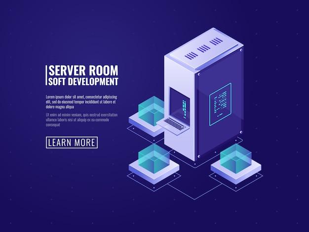 Serverraum- und datenwolken-speicherkonzept, isometrisches datencenter mit datenbankverbindung