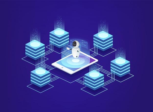 Serverstation, rechenzentrum. digitale informationstechnologien unter kontrolle der künstlichen intelligenz des roboters mit einem smartphone.