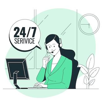 Service 24 7 konzeptillustration