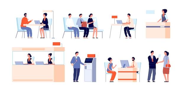Service für bankkunden. bankbüro, schalter und kundendienst. kasse, kassierer atm professionelle kreditberater vektorgrafik. bürofinanzierungsbankservice, gegenfinanz