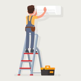 Service für reparatur und wartung von klimaanlagen.