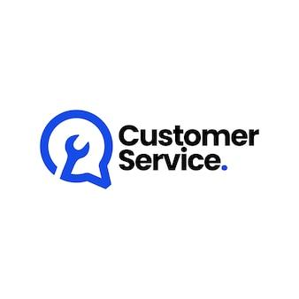 Service-gesprächsschlüssel chat-blase kundenanruf automotive logo vorlage