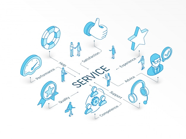 Service isometrisches konzept. integriertes infografik-system. menschen teamwork. symbol für support, erfahrung, beratung und hilfe. piktogramm leistung, qualität, kompetenz, zufriedenheit