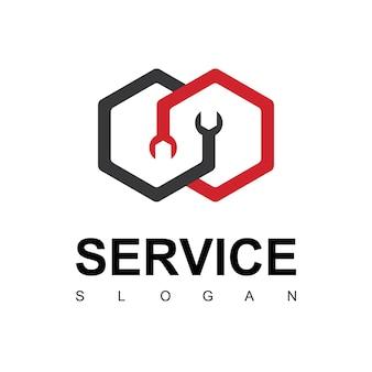 Service-logo mit schraubenschlüsselsymbol