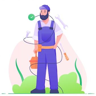 Service-mann mit werkzeugillustration