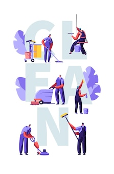 Service of professional cleaners arbeitskonzept. charaktere in uniform mit reinigungsgeräten, wischen, staubsaugen des bodens, reiben, kehrplakat, flyer, broschüre. karikatur-flache vektor-illustration