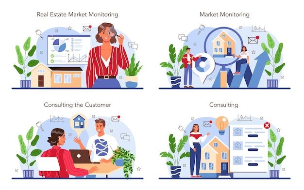 Service-set für immobilienagenturen. kauf- und verkaufsgeschäft für immobilien.