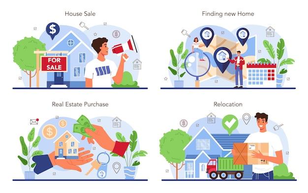 Service-set für immobilienagenturen. umzug, ein neues haus kaufen. vorheriger immobilienverkauf. standort- und kommunikationscheck. isolierte flache vektorillustration