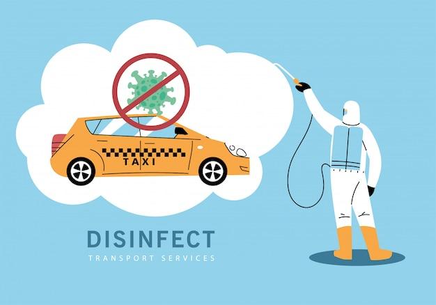 Service-taxi-desinfektion durch coronavirus oder covid 19
