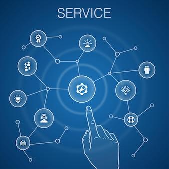 Servicekonzept, blauer hintergrund. lösung, hilfe, qualität, support-symbole