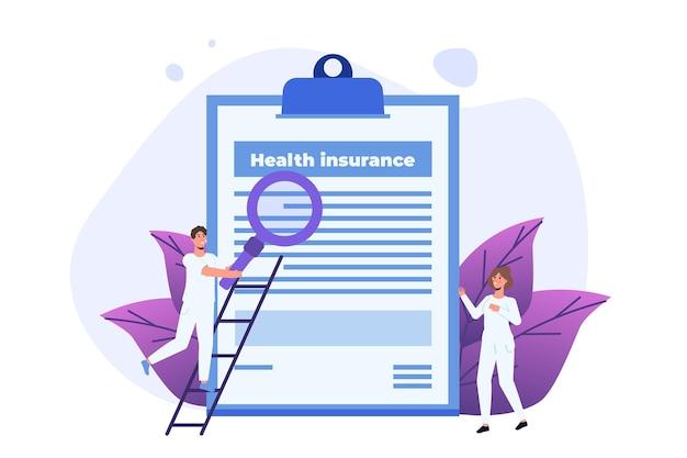 Servicekonzept der krankenversicherung. zwischenablage mit formular für medizinische dokumente.