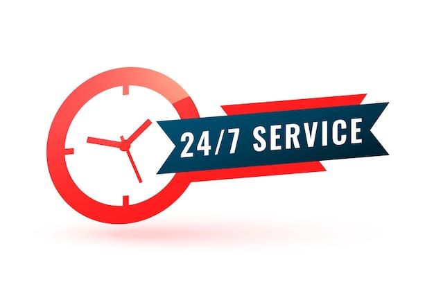 Serviceunterstützungsetikett mit uhr