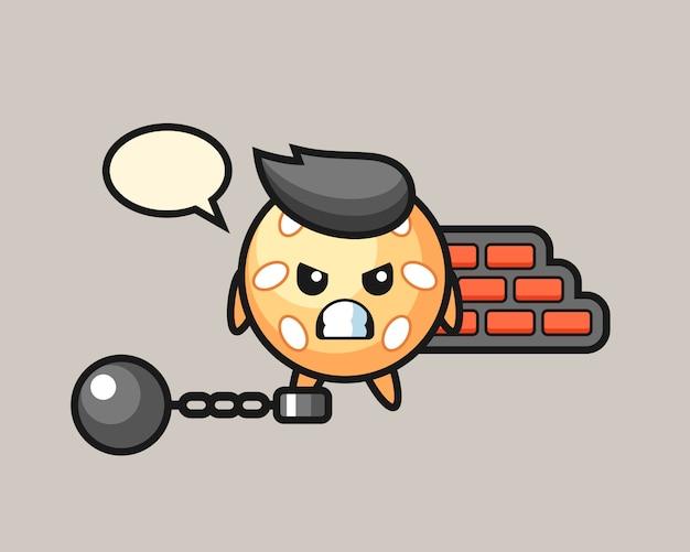 Sesamball-cartoon als gefangener