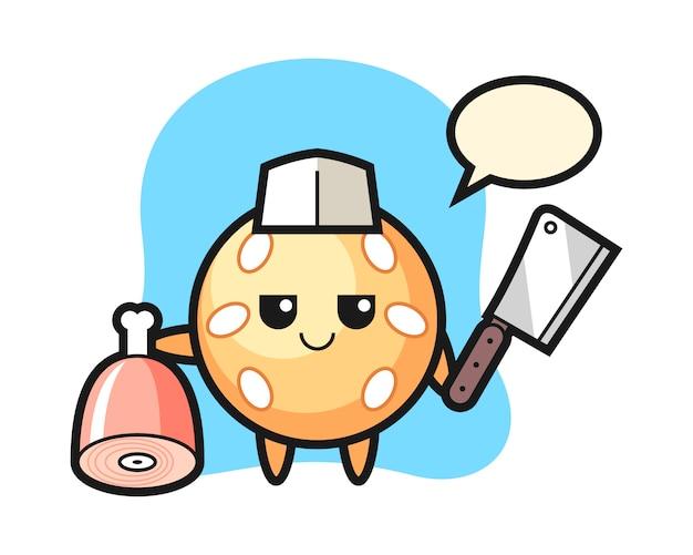 Sesamball-cartoon als metzger