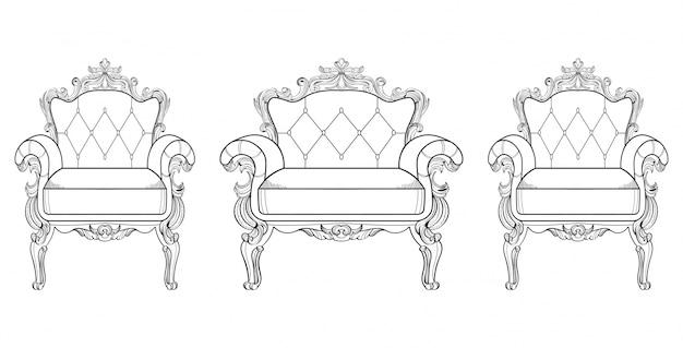 Sessel und schminktisch mit luxuriösen ornamenten. vektor französisch luxus reiche komplizierte struktur. viktorianische königliche artdekore