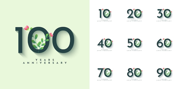 Set 10 bis 100 jahre anniversarry illustration template design