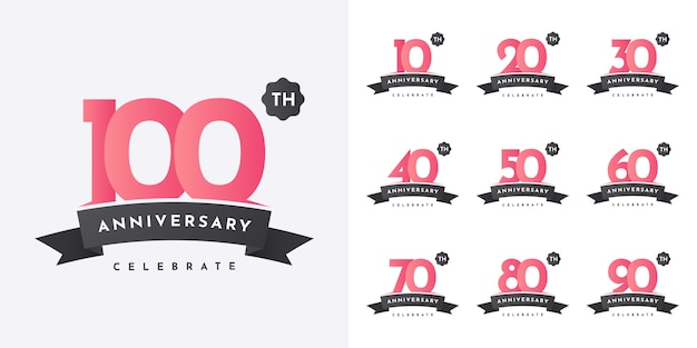 Set 10 bis 100 jahre jubiläumsdesign