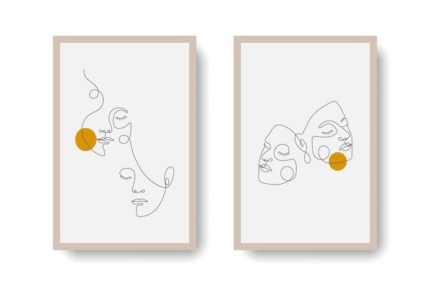 Set 2 minimalistische frauengesichts-wandbilder