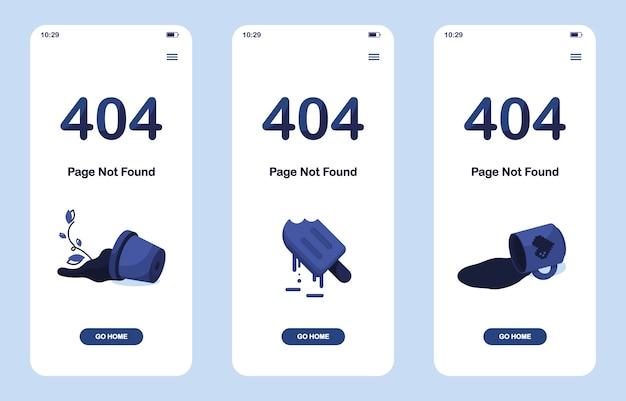 Set 404 fehlerseite nicht gefunden app. mobile version. zerbrochener topf mit blume. schmelzendes eis oder gefrorener saft. verschüttete tasse tee oder kaffee. für die website. webvorlage. blau